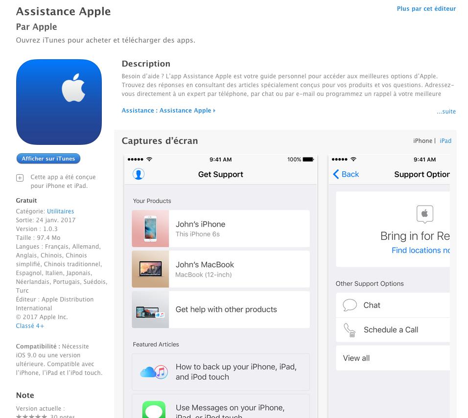 apple propose l 39 application assistance sur l 39 app store. Black Bedroom Furniture Sets. Home Design Ideas